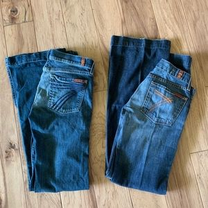 7 for all mankind 2 pair lot size 27 inseam 32